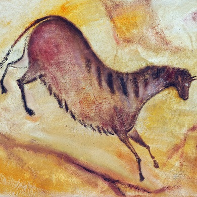 Horse - oil painting like cave painting a la Altamira.