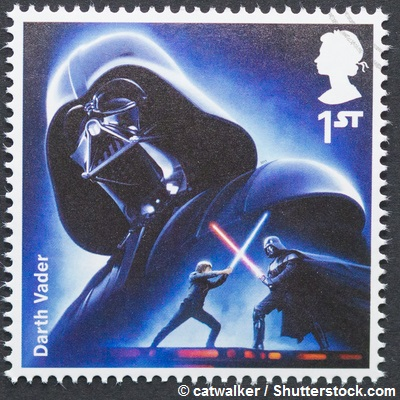 Star Wars commemorative postage stamp printed in UK with Darth Vader character, circa 2015. © catwalker / Shutterstock.com.