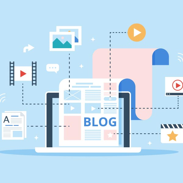 Illustration of videos, content and photos within a blog