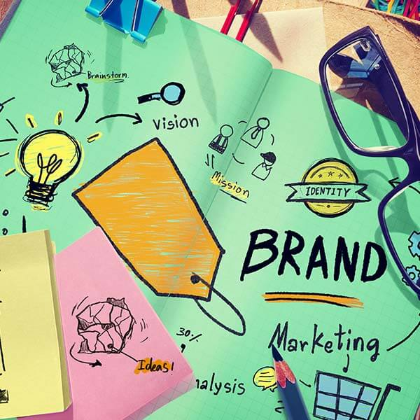Desk scattered with branding strategy notes