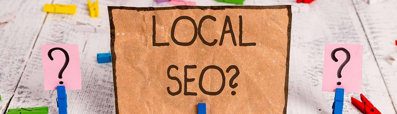 sign that reads Local SEO