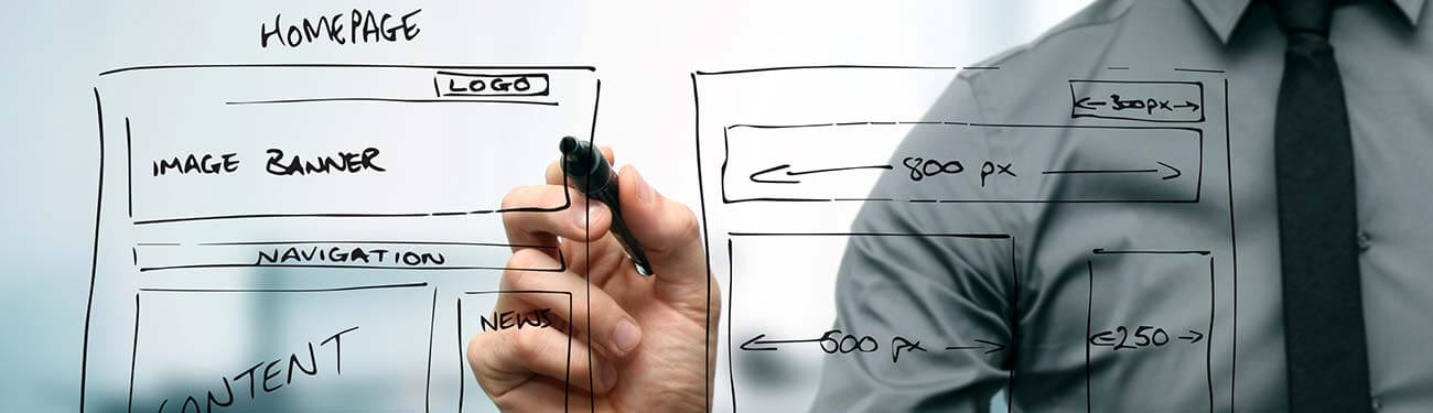 Man drawing a whiteboard layout of website